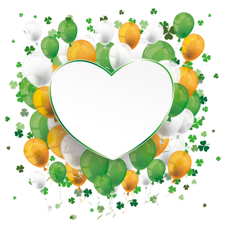 st: Cover for St. Patricks Day Sale with banner, balloons, shamrocks and heart. Eps 10 vector file.