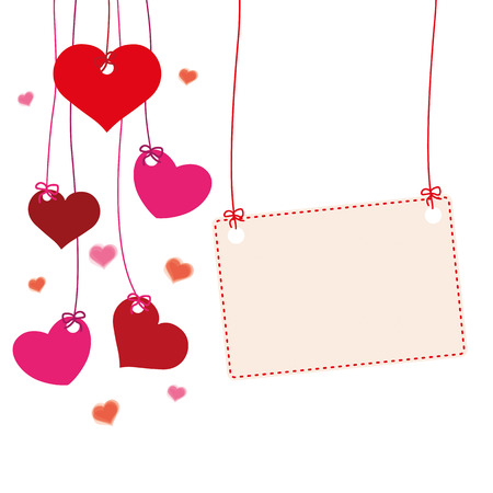 Hanging hearts with banner Eps 10 vector file.