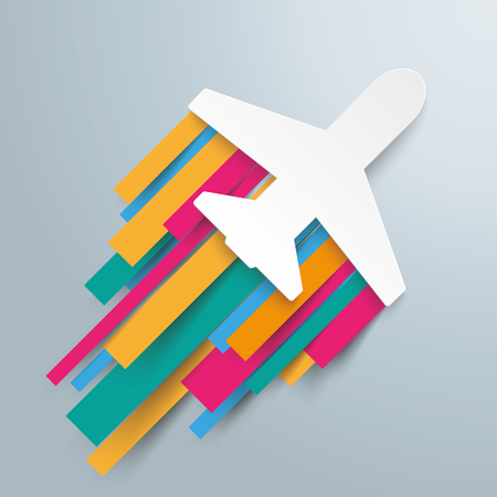 travelling: White paper jet on the gray background. Eps 10 vector file. Illustration