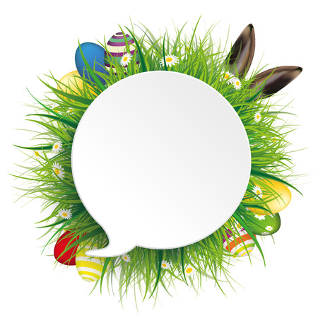 discounts: Speech bubble with green grass, flowers, eggs and hare ears on the white. Eps 10 vector file.
