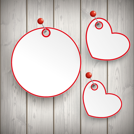wooden circle: Paper circle with hearts and pins on the wooden background. Eps 10 vector file.