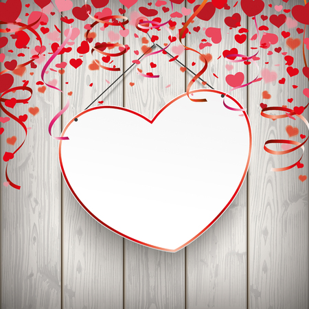Red heart and pin on the wooden background. Eps 10 vector file.