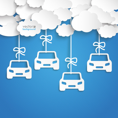 motor car: Paper clouds with car stickers on the blue background. Eps 10 vector file.