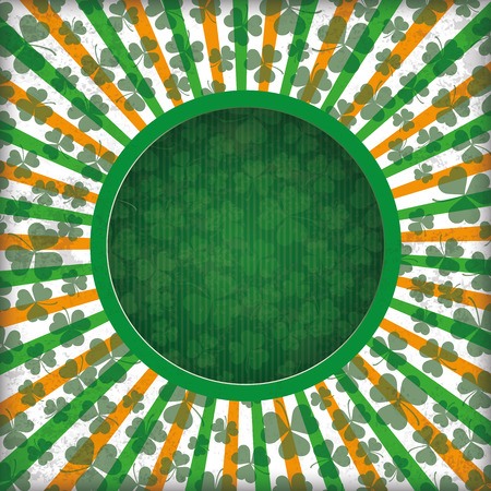17th: Vintage green background with hole, stripes, shamrocks and hole. Eps 10 vector file. Illustration