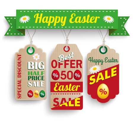 ten best: 3 carton price stickers with ribbon for easter sale. Eps 10 vector file.