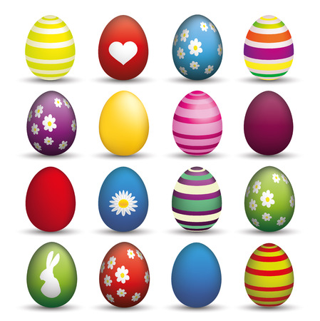 Seit of 16 colorful easter eggs on the white background. Eps 10 vector file.