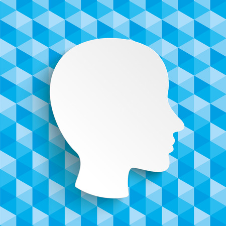 figur: Lowpoly design with blue colors and white paper human head.  Eps 10 vector file.