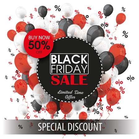 colored balloons: Black friday paper circles with black, red and white balloons and percents on the white. Eps 10 vector file.