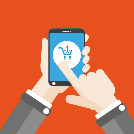 disposition: Flat design with human hand, smartphone and smart car. Eps 10 vector file.
