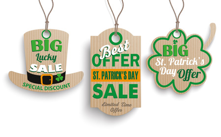 ire: 3 cardboard hanging price stickers for St. Patricks Day on the white background.  Eps 10 vector file. Illustration
