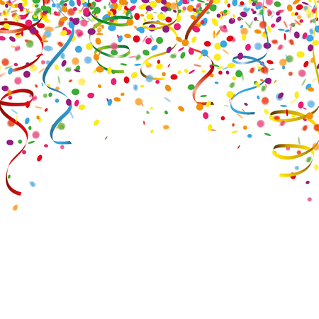 Colored confetti with ribbons on the white. Eps 10 vector file.