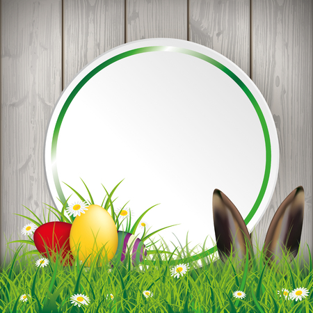 Green grass with colored easter eggs and circle sticker on the wooden background. Eps 10 vector file.
