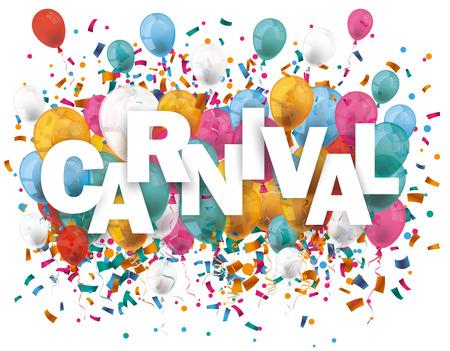 festa: Balões com confetti e carnaval texto. Eps 10 arquivo do vetor. Ilustração