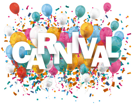 event party: Balloons with confetti and text carnival. Eps 10 vector file. Illustration