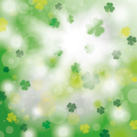 shamrock: Bokeh of green shamrocks with sunlight. Eps 10 vector file. Illustration