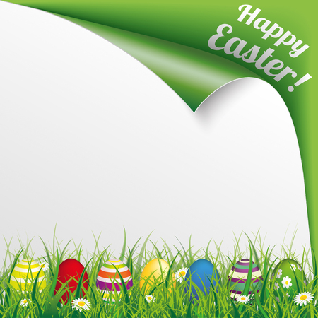 scrolled: Easter eggs with green grass and text Happy Easter. Eps 10 vector file. Illustration