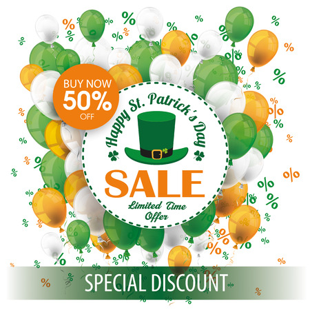 17th: Cover for St. Patricks Day Sale with banner, balloons and emblem. Eps 10 vector file. Illustration