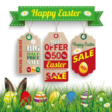 Green grass with colored easter eggs and price stickers for easter sale. Eps 10 vector file.