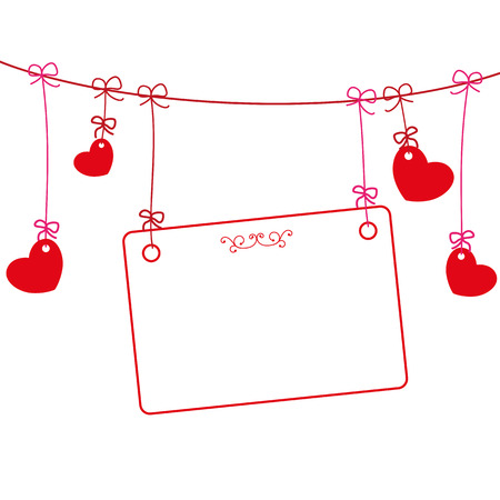 mothersday: Hanging hearts with red frame on the white background. Eps 10 vector file.