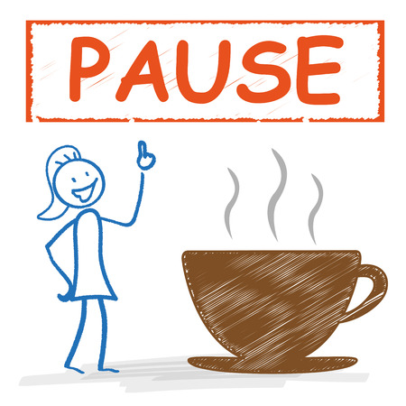 recess: Stickwoman with with coffee cup and german text Pause, translate Break. Eps 10 vector file.