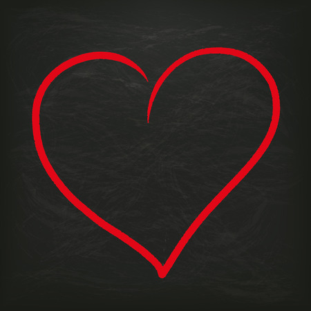 mothersday: Blackboard with big red heart. Eps 10 vector file.