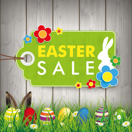 Green grass with colored easter eggs and price stickers for easter sale. Eps 10 vector file. Illustration