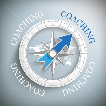 eps 10: Compass with the text Coaching. Eps 10 vector file.