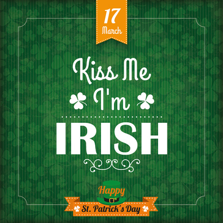 ire: Vintage cover with flag and frame for St. Patricks Day. Eps 10 vector file.