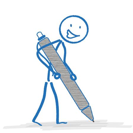 bonhomme allumette: Bleu stickman avec ballpen sur le blanc. Eps 10 fichier vectoriel.