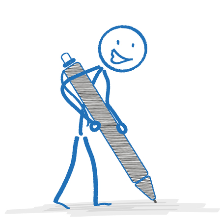 ball pen: Blue stickman with ballpen on the white. Eps 10 vector file. Illustration