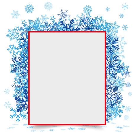 eps: Red paper frame with snowflakes on the white background. Eps 10 vector file.