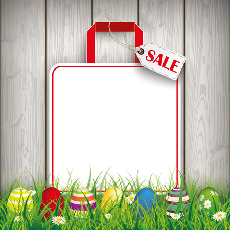 Green grass with colored easter eggs and shopping bag on the wooden background. Eps 10 vector file.