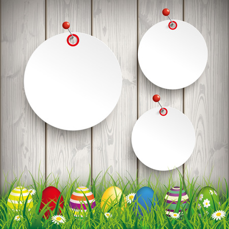 Green grass with colored easter eggs and circle stickers on the wooden background. Eps 10 vector file. Illustration