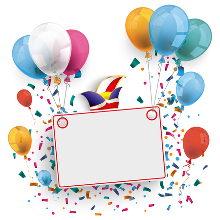 White board with colored balloons and jesters cap on the white background. Eps 10 vector file.