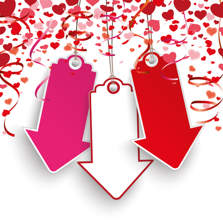 mothersday: Red hearts confetti, price stickers and garlands on the white. Eps 10 vector file. Illustration