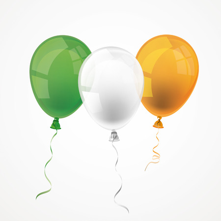 national colors: Balloon in irish national colors on the white. Eps 10 vector file.