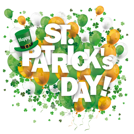 ire: Colored balloons and shamrocks on the white for St. Patricks Day. Eps 10 vector file.