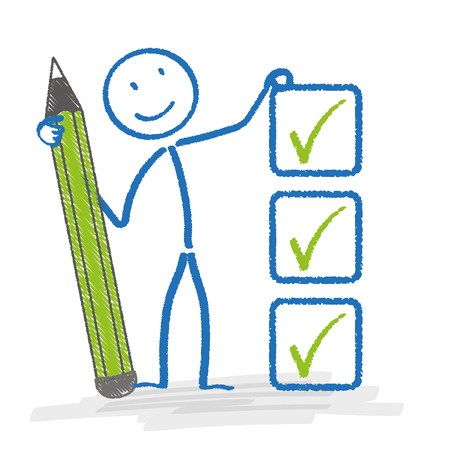 disposition: Stickman with ballpen and checklist. Eps 10 vector file.