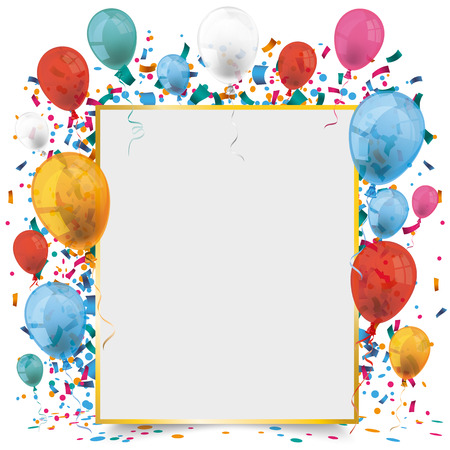 frame vector: Golden frame banner with balloons and confetti on the white background. Eps 10 vector file.