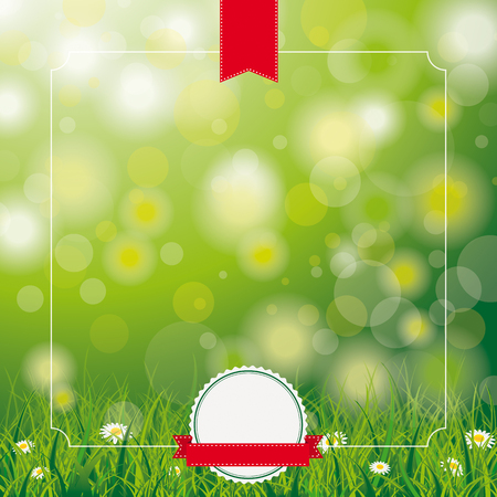 eps 10: White flowers in grass on the bokeh background. Eps 10 vector file.
