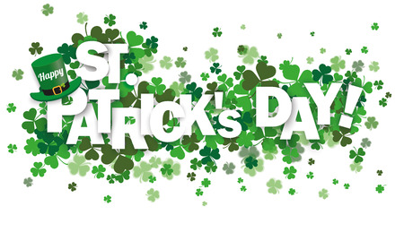 Green shamrocks on the white with text Happy St. Patrick's Day. Eps 10 vector file.