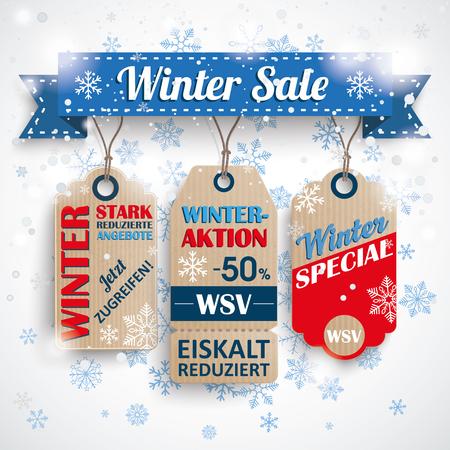 stark: German text WSV, Stark Reduzierte Angebote, translate Winter Sale, Reduced Prices. Eps 10 vector file. Illustration