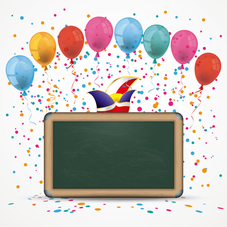 fete: Blackboard with baloons, confetti and jesters cap. Eps 10 vector file. Illustration