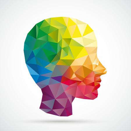 Gekleurde laag poly menselijk hoofd op de witte achtergrond. Eps 10 vector-bestand.