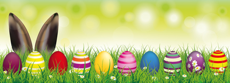 White flowers in grass with colored easter eggs and hare ears on the bokeh background. Eps 10 vector file.