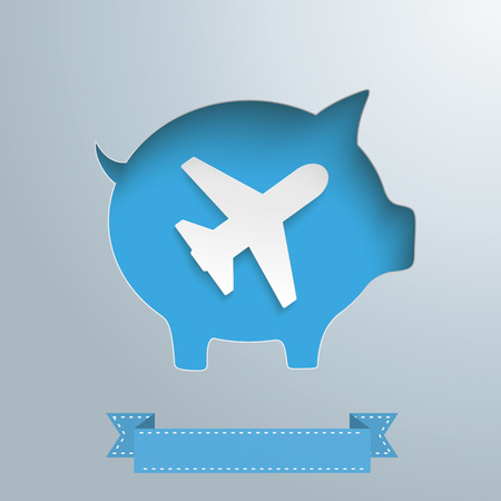 travelling: Piggy bank hole with jet on the gray background. Eps 10 vector file. Illustration