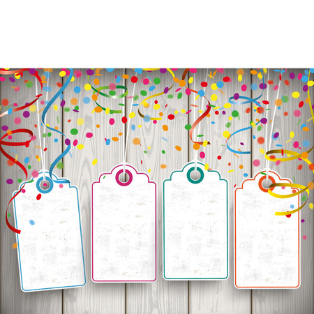 Confetti with price sticker, ribbons and banner on the wooden background. Eps 10 vector file.