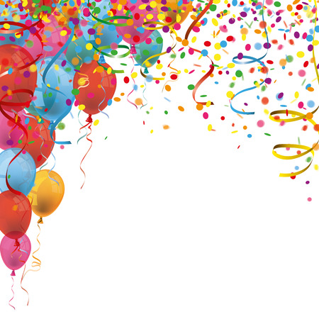 Colored confetti with ribbons and balloons on the white. Eps 10 vector file.
