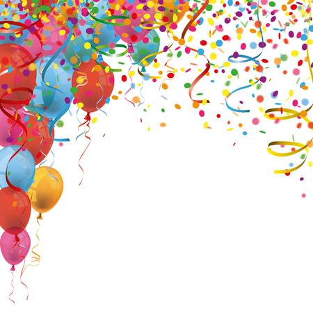 Gekleurde confetti met linten en ballonnen op de witte. Eps 10 vector-bestand. Stock Illustratie
