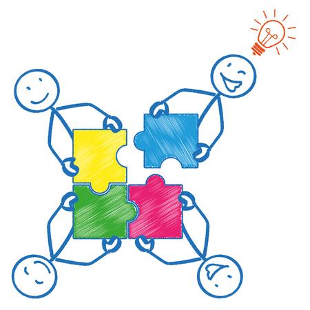 circulo de personas: 4 sticks con las piezas del rompecabezas del rectángulo y una bombilla. EPS 10 del vector.